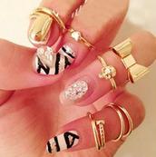 jewels,ring,knuckle ring,gold midi ring,nail polish,gold midi rings,bow,heart,skull