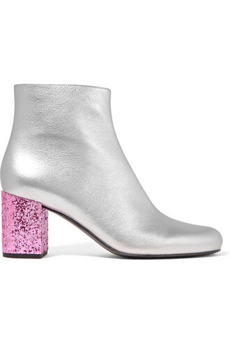 leather ankle boots metallic boots ankle boots silver leather shoes