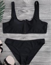 swimwear,girly,black,bikini,bikini top,bikini bottoms,two-piece,zip