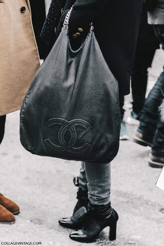 bag fashion week 2017 tumblr streetstyle fashion week street style black bag chanel chanel bag designer bag boots black boots high heels boots ankle boots denim jeans grey jeans