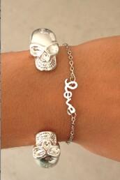 jewels,bracelets,silver,silver bracelet,skull,sabo skirt,silver jewelry