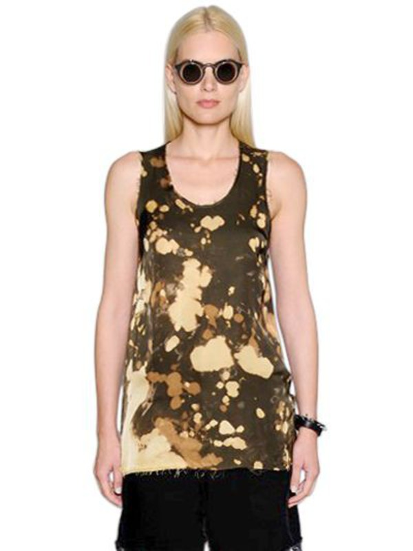 DAMIR DOMA Bleached Washed Satin Tank Top in beige / beige