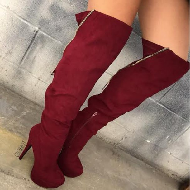 Shoes: boots, booties, fall boots, burgundy boots, red boots ...
