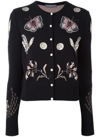 cardigan metallic women black silk wool sweater