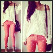 jeans,sweater,stars,pants,skinny pants,shoes,high heels,pumps,white dress,pullover,cute,spring,bag,pink,patten,orange,peach,polka dots,colorful,style,brand,love