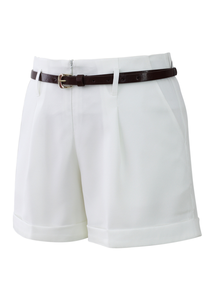 Basic Belted Shorts in White - Retro, Indie and Unique Fashion