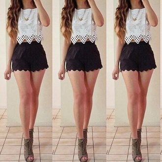 tank top shirt shorts lace white lace lace shirt black shorts scalloped pretty heels cute shoes blouse