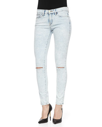 FRAME Le Skinny De Jeanne Light Distressed Jeans, Silverlake