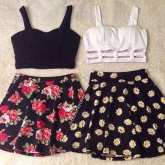 blouse top shirt skirt daisy floral skater skirt black crop top black top white top white crop tops tank top summer top summer outfits floral black white cute beautiful pretty flower skirt fashion style dress