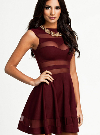 dress bqueen fashion girl red sexy chic bodycon party mesh