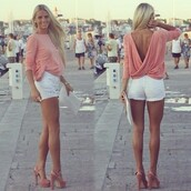 blouse,pink,draped,v-back,top,shirt,pink shirt,girl