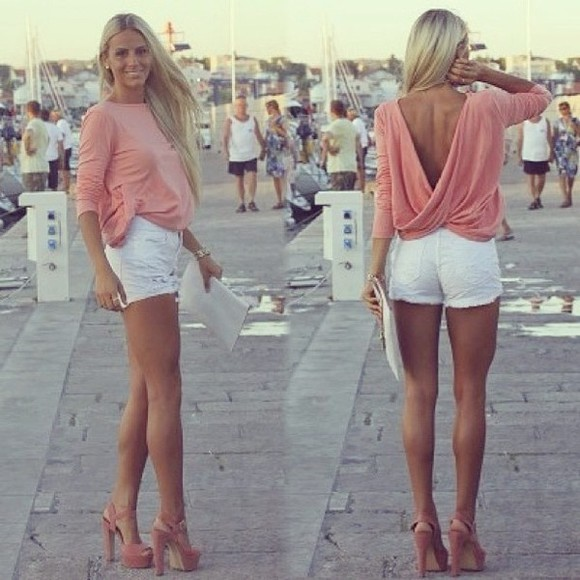 blouse top pink draped v-back
