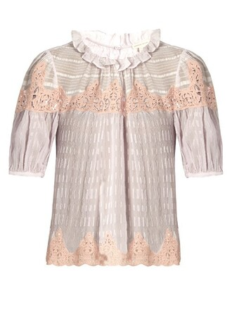 blouse lace silk light purple top