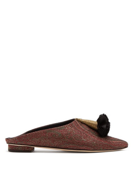 Sanayi 313 - Floral Brocade Backless Slipper Shoes - Womens - Burgundy Multi