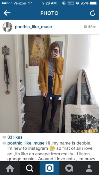 cardigan yellow cardigan denim skirt black tights black shoes striped shirt