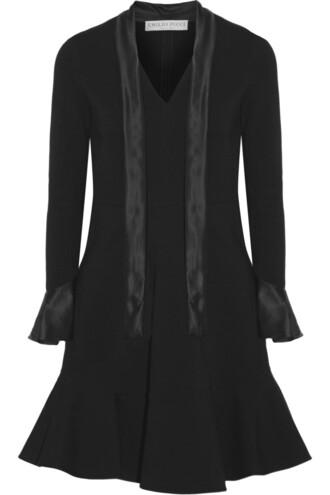 dress bow silk satin black