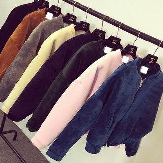 jacket pink suede velvet blue yellow brown grey bomber jacket