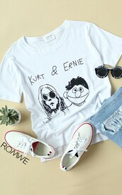 t-shirt,shirt,black,white,kurt,black and white,ernie