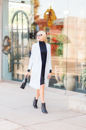 modern ensemble blogger skirt coat shoes bag sunglasses fall outfits ankle boots handbag grey coat winter date night outfit white coat date outfit mini dress black boots black bag