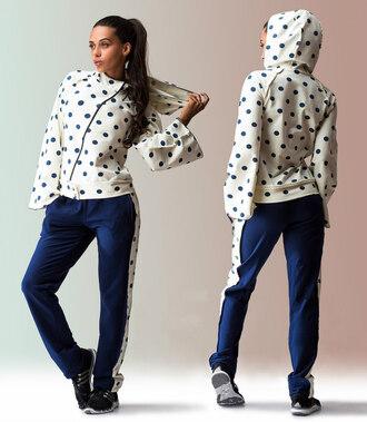 jumpsuit zefinka polka dots zip up comfy combo hooded sweatshirt sweatpants sweatsuit set going out smart casual striped loungewear white blue women nike blazers women hoodie hooded parker leisure suit lounge pants lounge wear nike sports wear