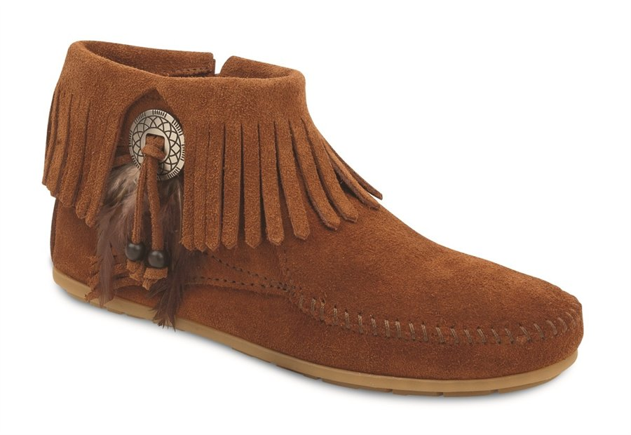 Minnetonka Bootie with Concho in Brown - Minnetonka Womens Boots on Shoeline.com