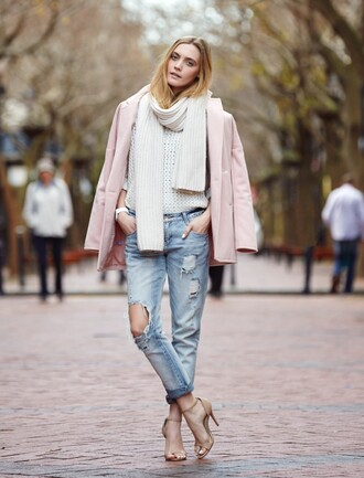 my life in pink jeans scarf shoes jewels sweater