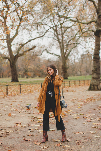 wishwishwish blogger coat shirt pants shoes bag fall outfits fall colors cropped bootcut jeans boots shoulder bag