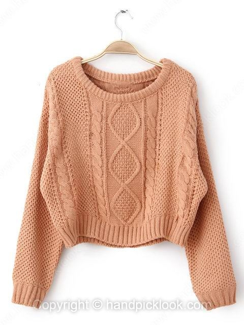 Pink Round Neck Long Sleeve Cable Loose Sweater - HandpickLook.com