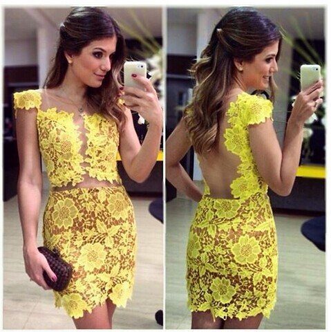 Aliexpress.com : Buy 2014 European and American perspective Cap Sleeve naked sexy yellow short lace dress package hip nightclub Wedding Party Dress from Reliable Party Dresses suppliers on Lady Go Fashion Shop