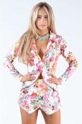 Javen Floral Print Two Piece Blazer And Skort Set  - Pop Couture
