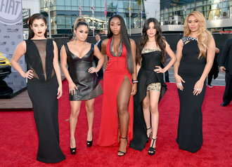 dress amas 2015 slit dress prom dress gown red dress black dress fifth harmony camila cabello red carpet dress dinah jane hansen dinah hansen lauren jauregui ally brooke normani kordei hamilton normani hamilton