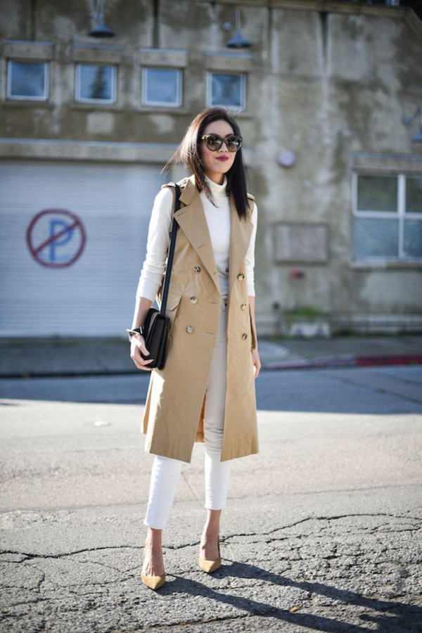 coat, white jeans, white skinny jeans, black shoulder bag ...