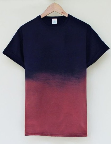 t-shirt ombre tie dye dip dyed black red