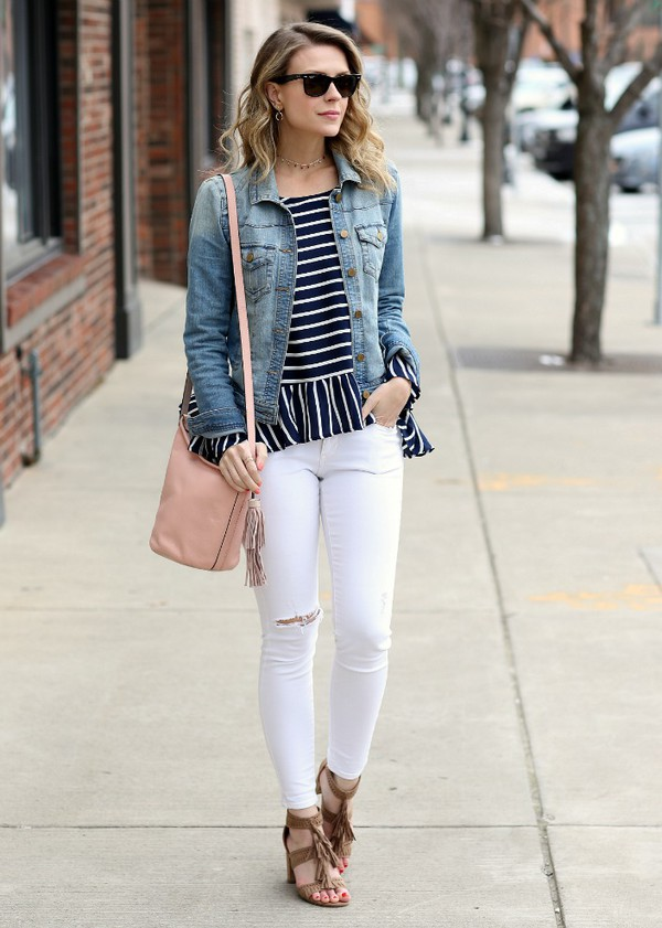 pennypincherfashion blogger top jacket jeans shoes bag jewels striped top denim jacket shoulder bag nude bag sandals white pants spring outfits blouse tumblr peplum top peplum bell sleeves stripes blue top