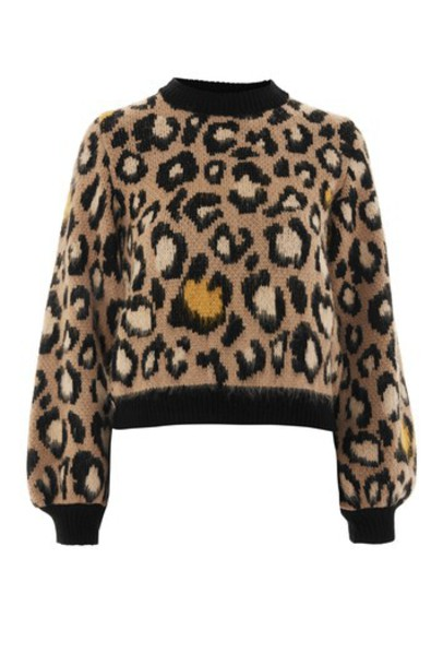 Topshop jumper print brown leopard print sweater