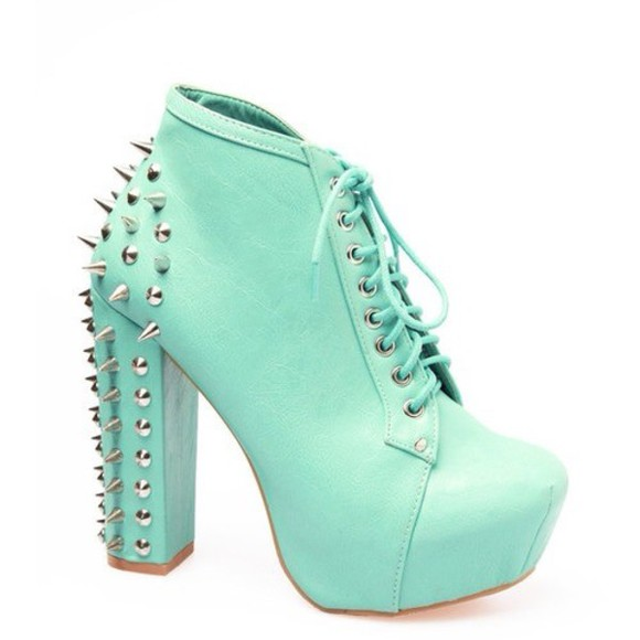 shoes spiked shoes blue high heels