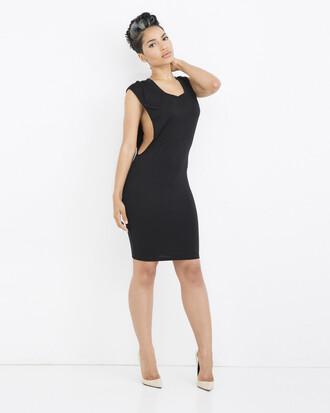 dress black black dress cut-out cut-out dress midi midi dress