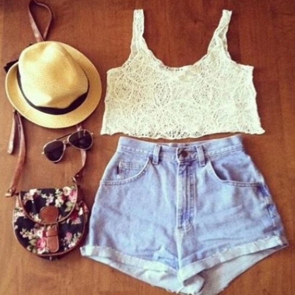 brown hat bag floral bag white lace croptop light washed shorts High waisted shorts