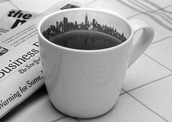 jewels,coffee,mug,new york city,sky line,newspaper,black and white,home accessory