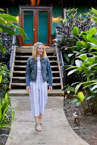 avecamber blogger jumpsuit jacket shoes jewels denim jacket
