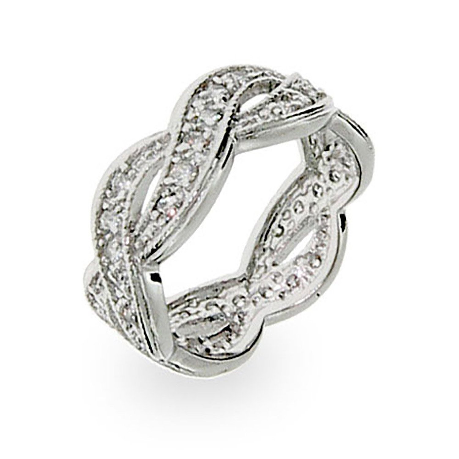 Amazon.com: sterling silver cubic zirconia weave band: rings: jewelry