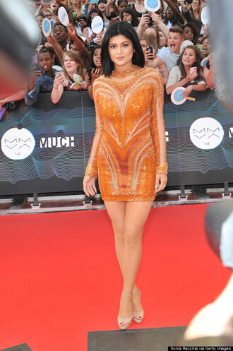 kylie jenner dress red carpet dress rust orange dress