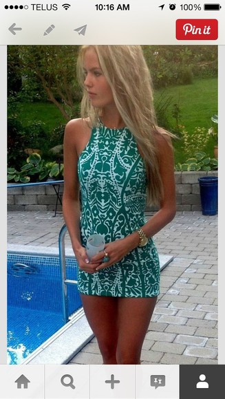 dress printed dress bodycon white green dress