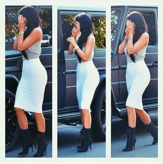 kylie jenner white skirt crop tops crop midi skirt boots pencil skirt