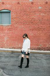 m loves m,blogger,sweater,skirt,shoes,sunglasses,make-up