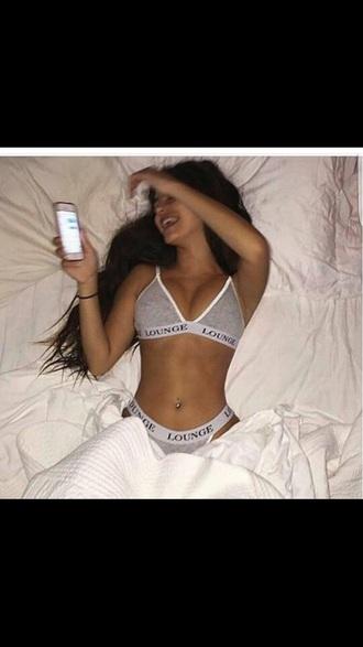 underwear lingerie set grey bra lounge set
