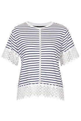 Stripe Lace Panel Tee - Tops - Clothing - Topshop USA