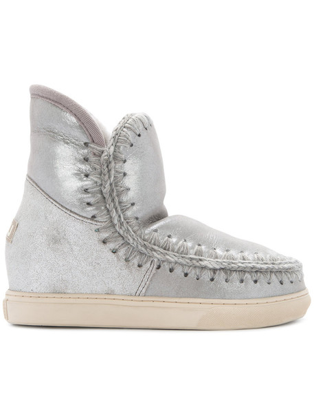 women boots wool grey metallic shoes