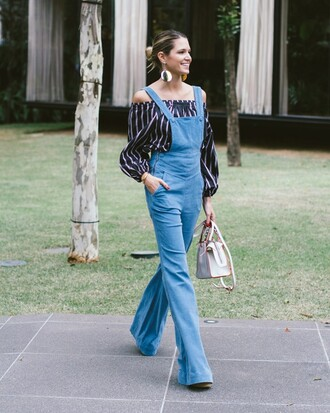 helena bordon blogger off the shoulder stripes striped top overalls denim overalls wide-leg pants mini bag white bag date outfit