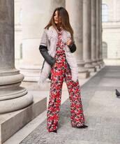 coat,winter coat,floral,jumpsuit,pumps,wide-leg pants